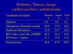 diabetes tabaco riesgo cardiovascular y sedentarismo