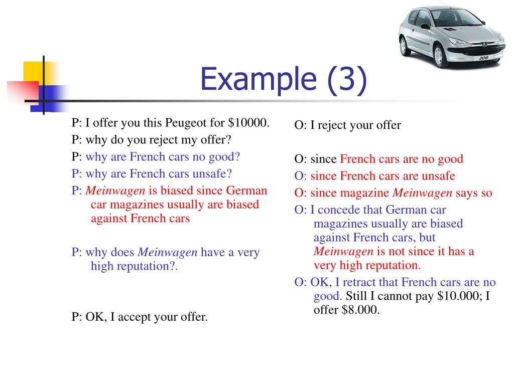 P: I offer you this Peugeot for $10000.