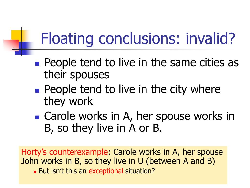 Floating conclusions: invalid?