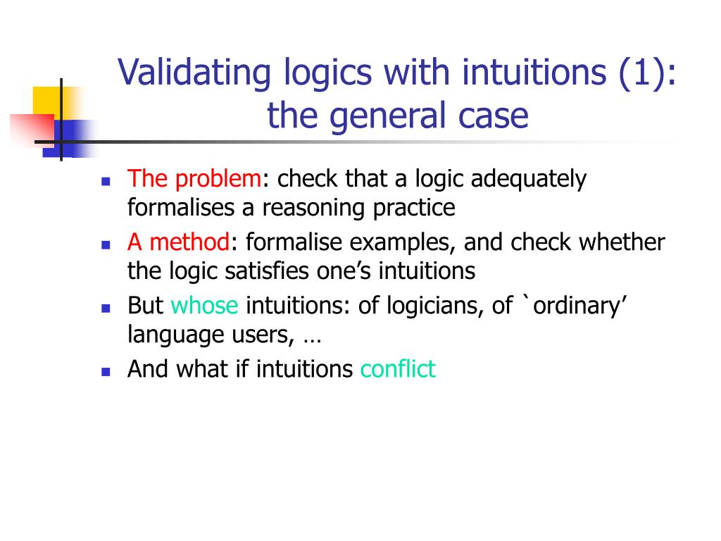 Validating logics with intuitions (1): the general case