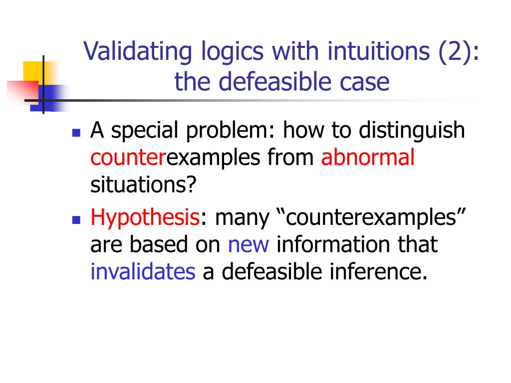 Validating logics with intuitions (2): the defeasible case