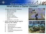 what makes a game useable
