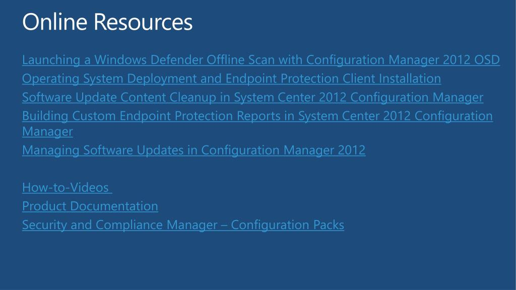 PPT - Microsoft System Center 2012 Endpoint Protection
