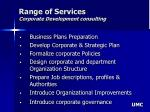 range of services corporate development consulting