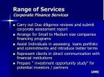 range of services corporate finance services
