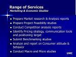 range of services marketing economic studies