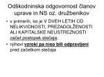 od kodninska odgovornost lanov uprave in ns oz dru benikov