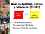 nivel de auditor a control y monitoreo nivel e