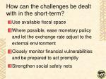 how can the challenges be dealt with in the short term