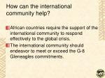 how can the international community help