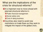 what are the implications of the crisis for structural reforms