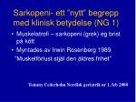 sarkopeni ett nytt begrepp med klinisk betydelse ng 1