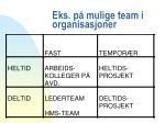 eks p mulige team i organisasjoner