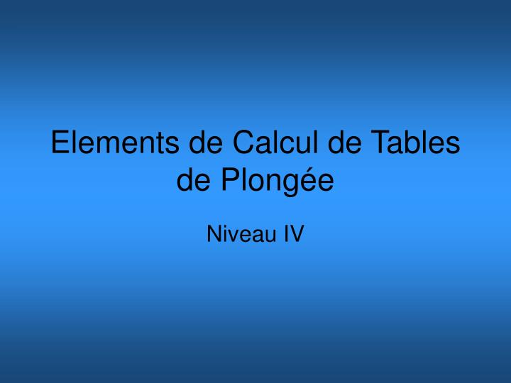 elements de calcul de tables de plong e n.