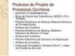 produtos do projeto de processos qu micos