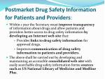 postmarket drug safety information for patients and providers