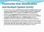 postmarket risk identification and analysis system cont