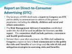 report on direct to consumer advertising dtc