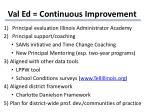 val ed continuous improvement