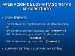 aplicaci n de los antagonistas al substrato