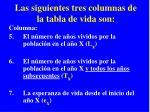 las siguientes tres columnas de la tabla de vida son