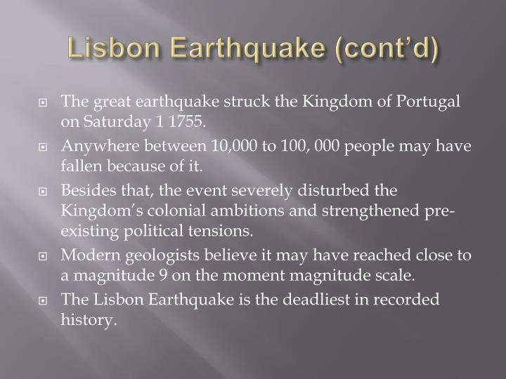 Lisbon Earthquake (cont'd)