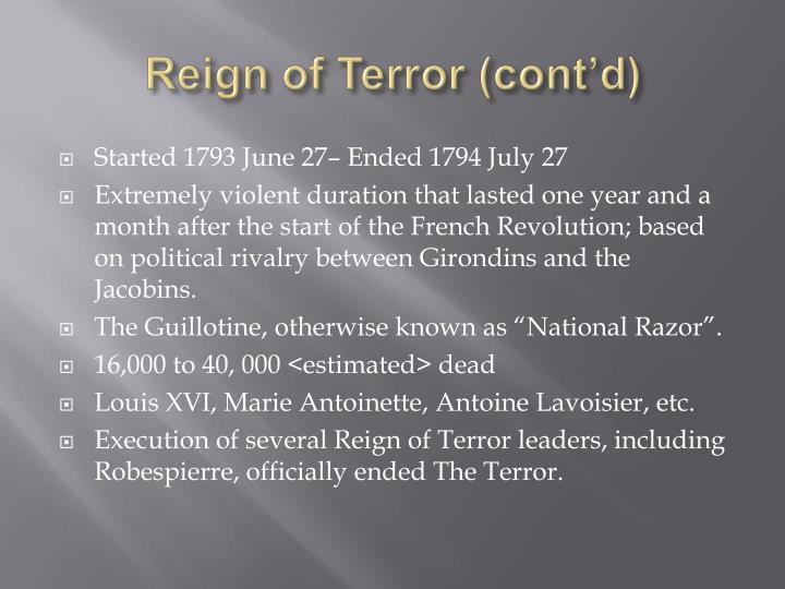 Reign of Terror (cont'd)
