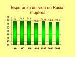 esperanza de vida en rusia mujeres