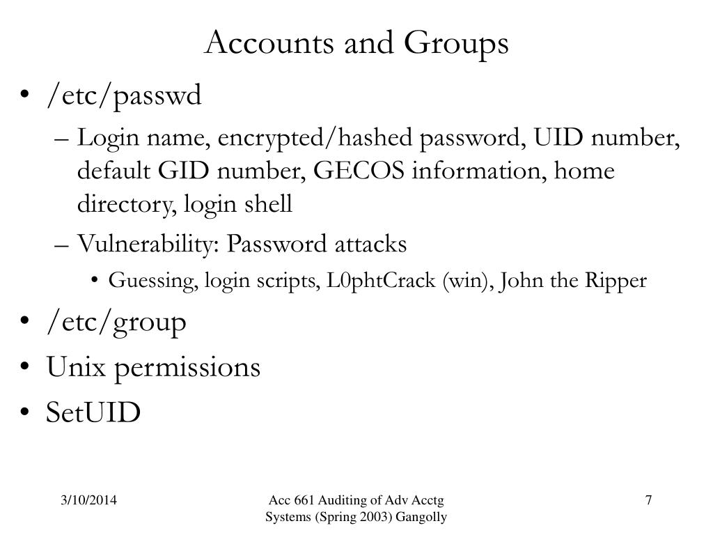 Accounts and Groups