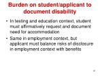 burden on student applicant to document disability