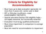criteria for eligibility for accommodations