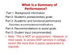 what is a summary of performance1