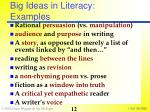 big ideas in literacy examples