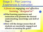 stage 3 plan learning experiences instruction