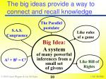 the big ideas provide a way to connect and recall knowledge