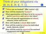 think of your obligations via w h e r e t o