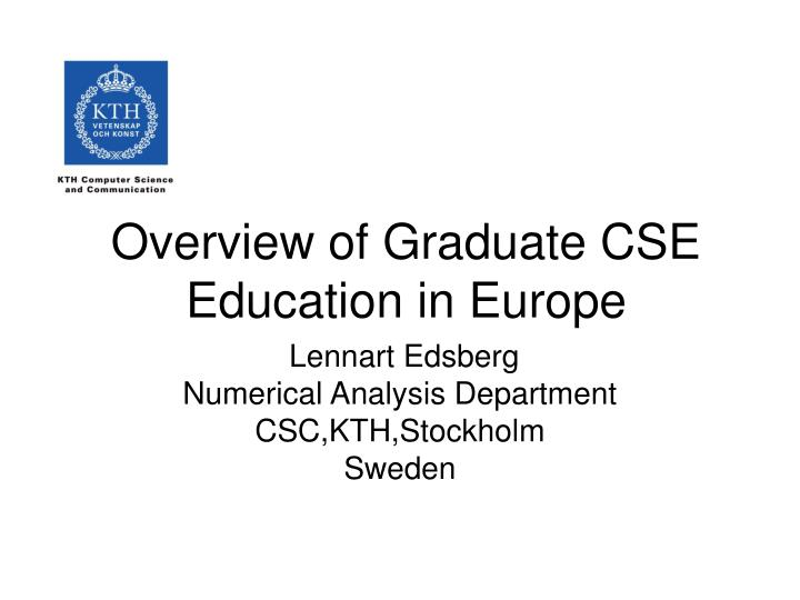 overview of graduate cse education in europe n.