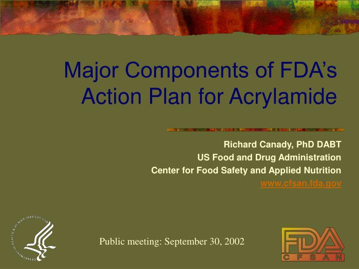 major components of fda s action plan for acrylamide n.