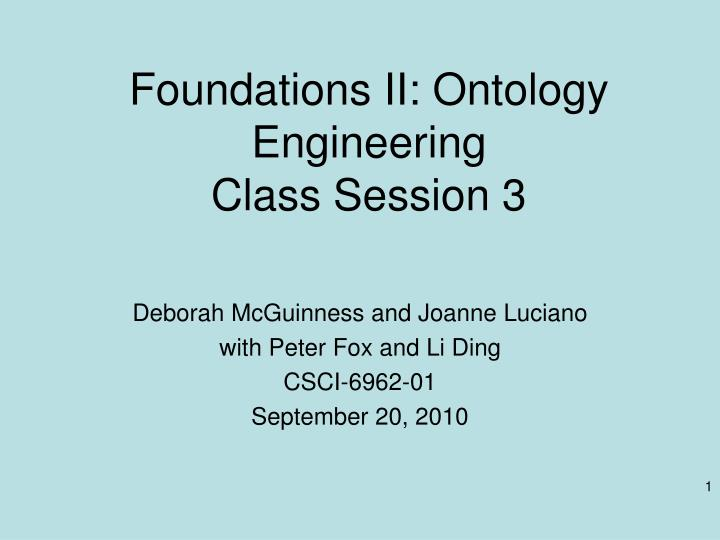 foundations ii ontology engineering class session 3 n.