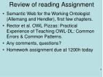 review of reading assignment