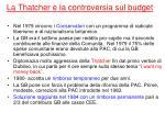 la thatcher e la controversia sul budget