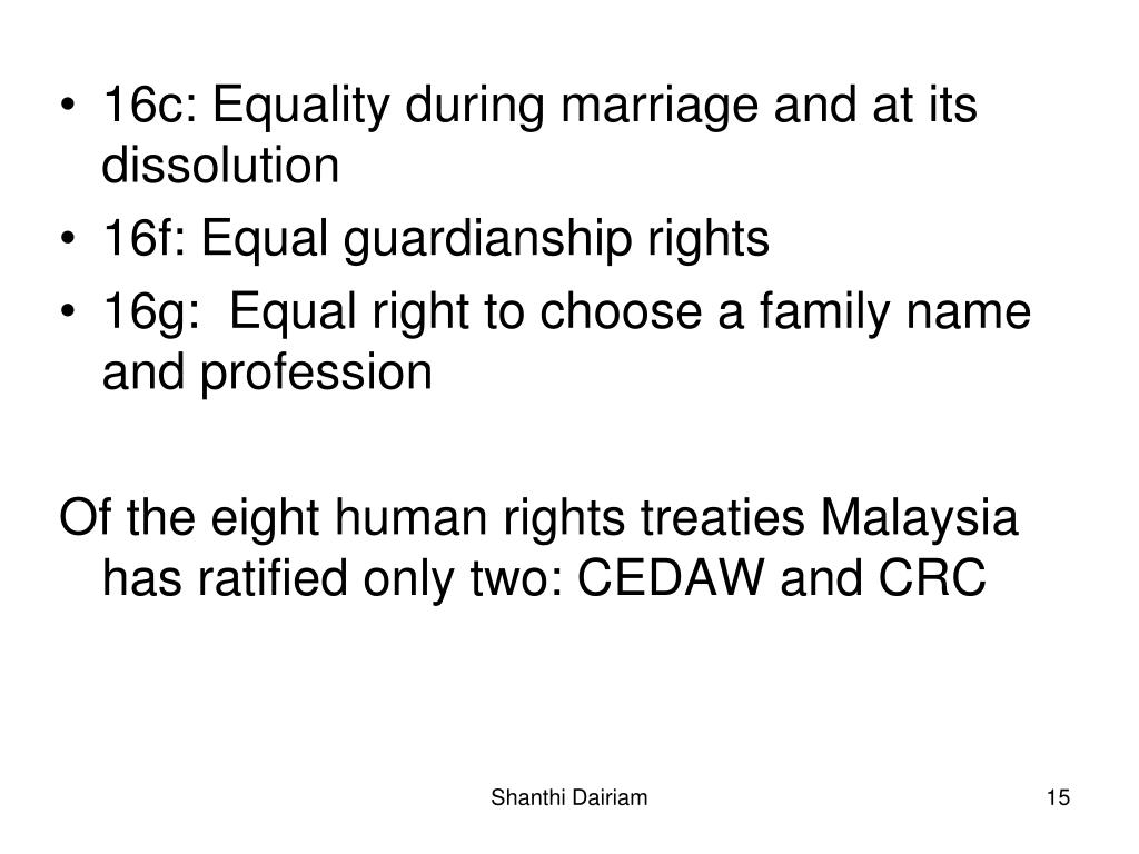 16c: Equality during marriage and at its dissolution