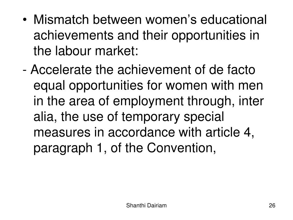 Mismatch between women's educational achievements and their opportunities in the labour market: