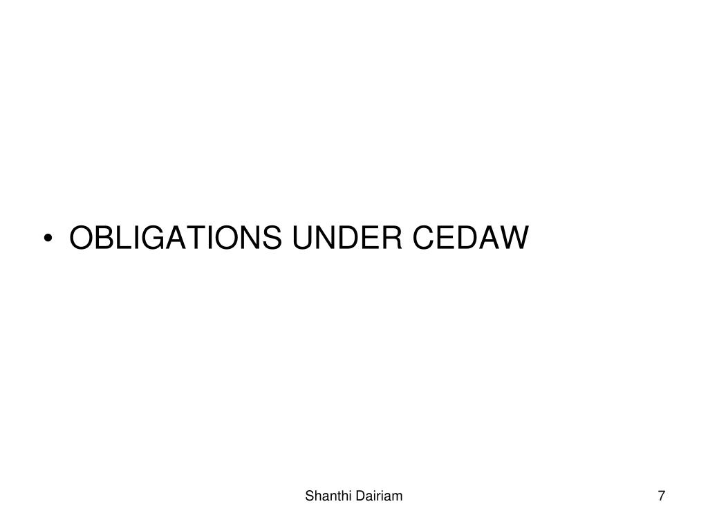 OBLIGATIONS UNDER CEDAW