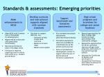 standards assessments emerging priorities