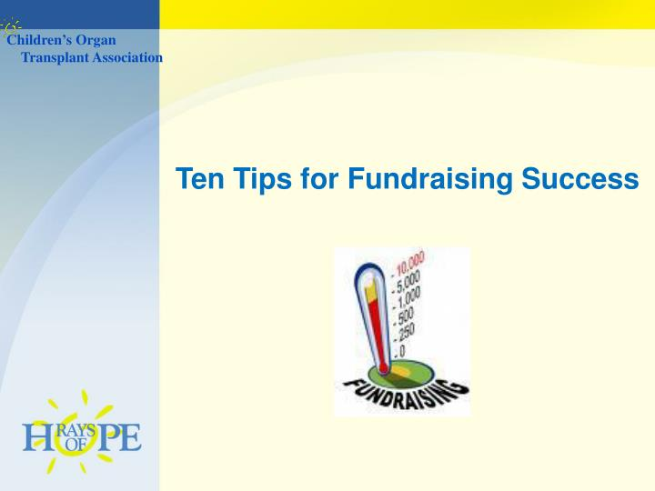 Ten Tips for Fundraising Success