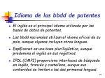idioma de las bbdd de patentes