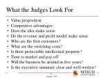 what the judges look for