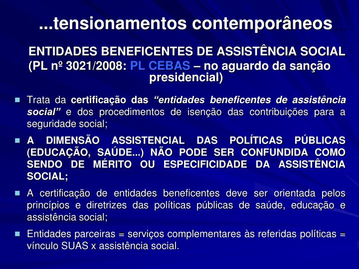 ...tensionamentos contemporâneos