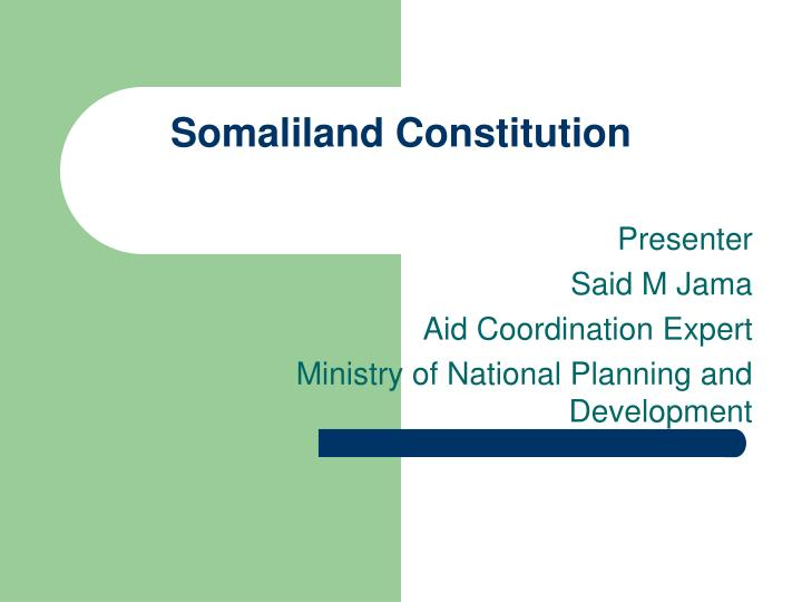 somaliland constitution n.
